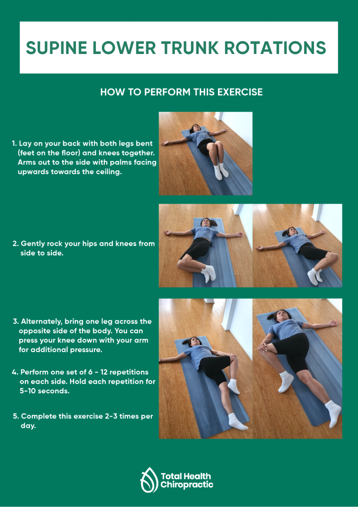 Infographic showing/describing how to do supine lower trunk rotations