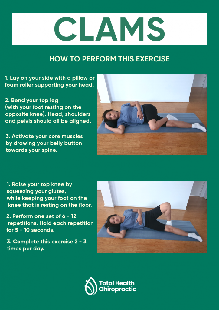 Infographic showing how to do the clam exercise. An exercise which may be appropriate for people who may experience back pain.