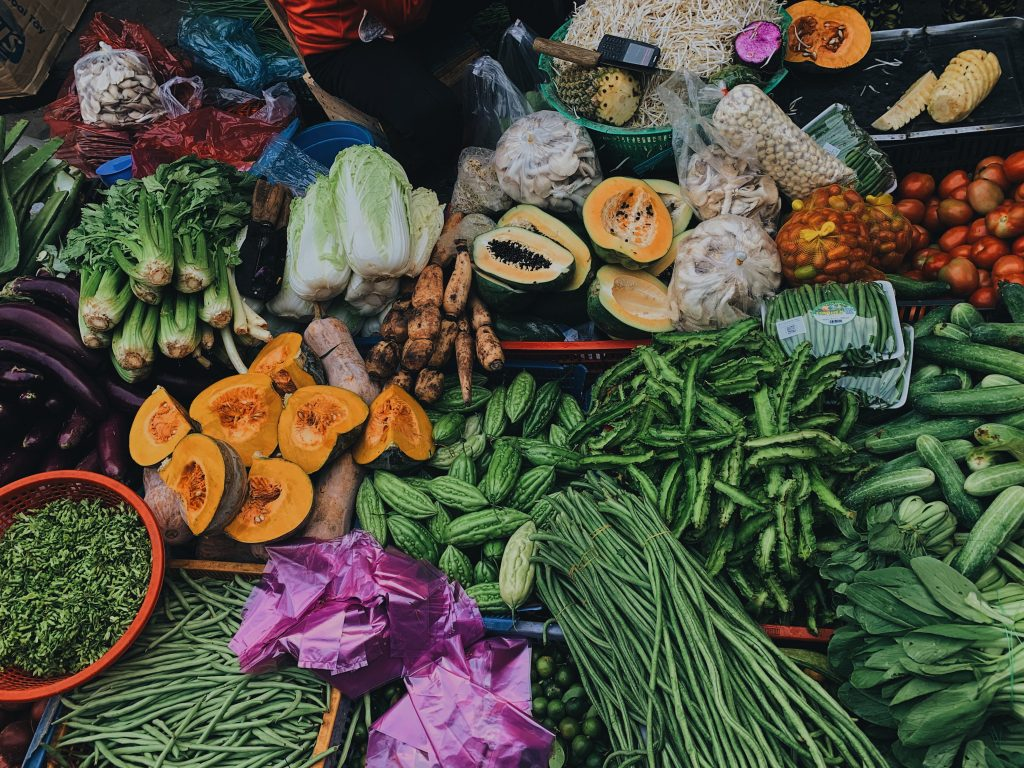 assortment of vegetables displayed at a market